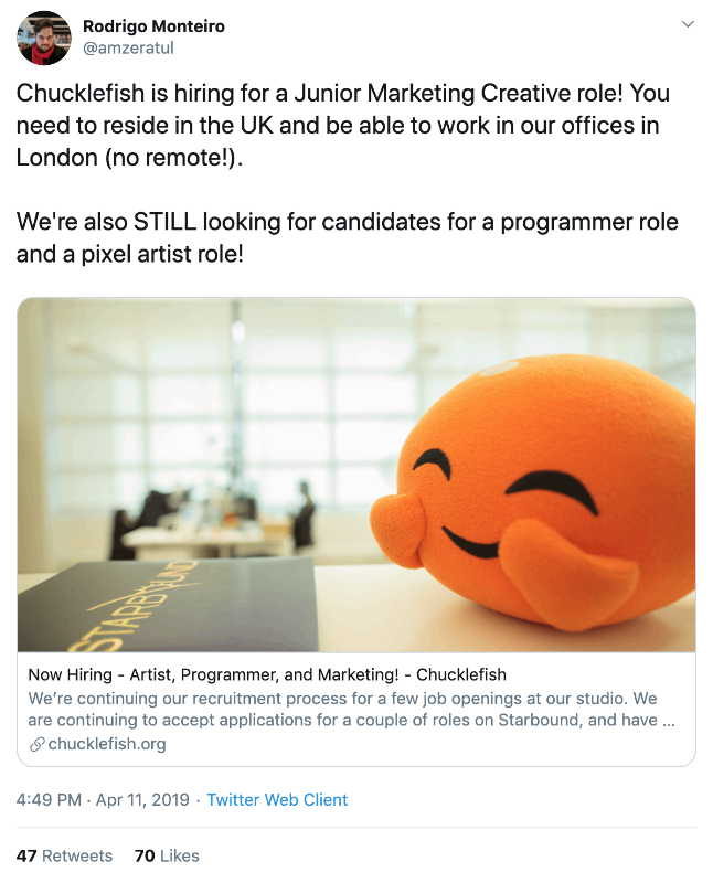 A tweet from an employee of Chucklefish announcing they are hiring a Junior Marketing Creative role