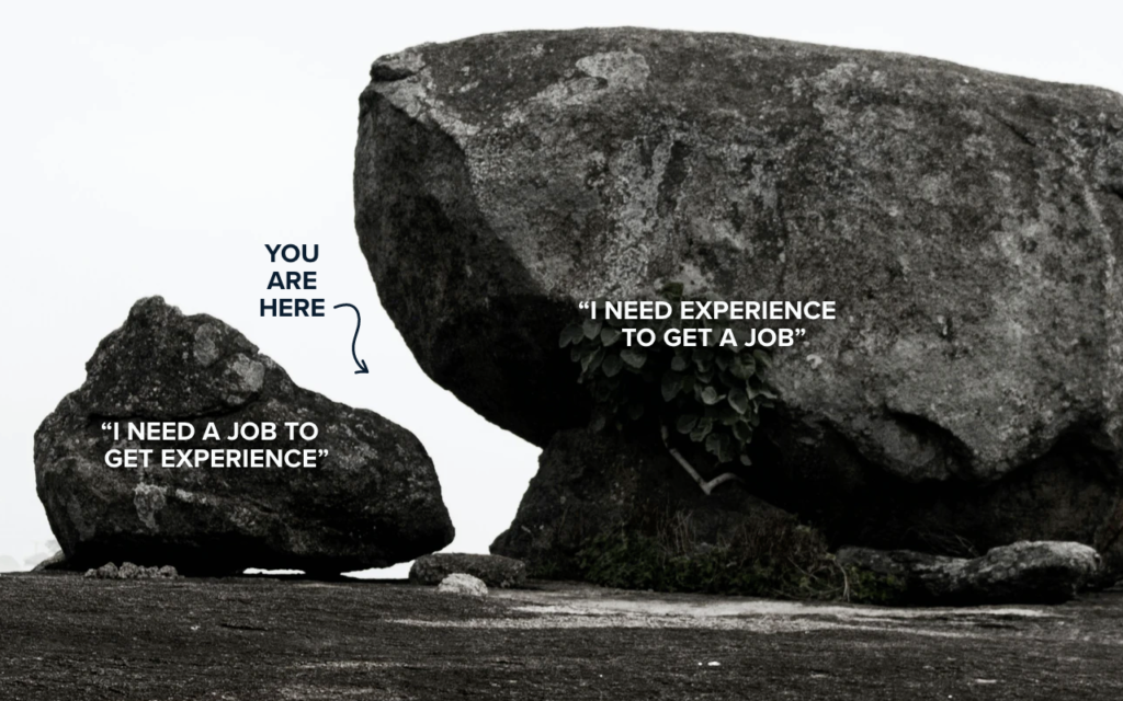 Getting past the need-enough-experience-to-get-a-job-but-need-a-job-to-gain-experience conundrum.